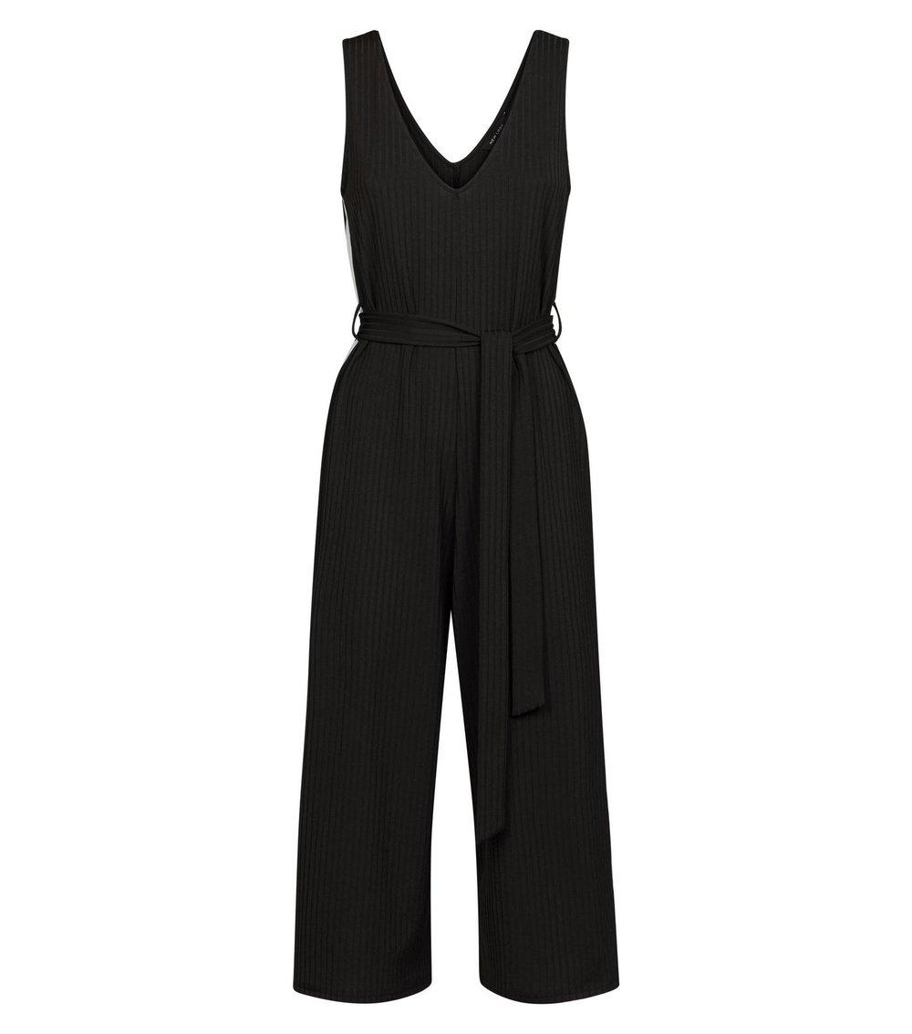 Black Side Stripe Ribbed Jersey Jumpsuit - NEW LOOK