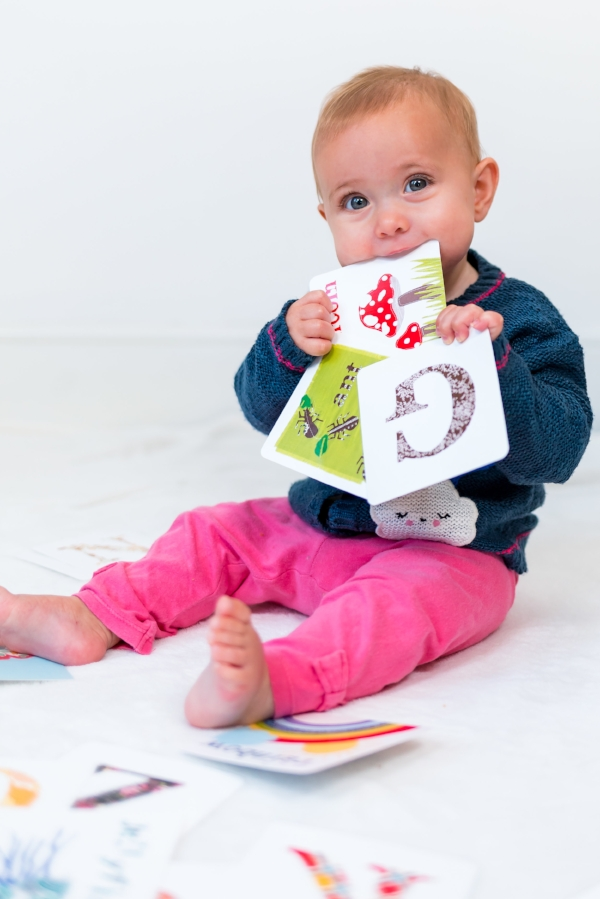 Pip and Cherry baby chewing flashcards