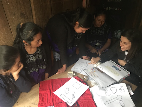 Chenalho, Chiapas, Mexico - Erika, Amor & Rosas´ Creative Director, is giving instructions to the group and Amalia is translating to Tzotzil.