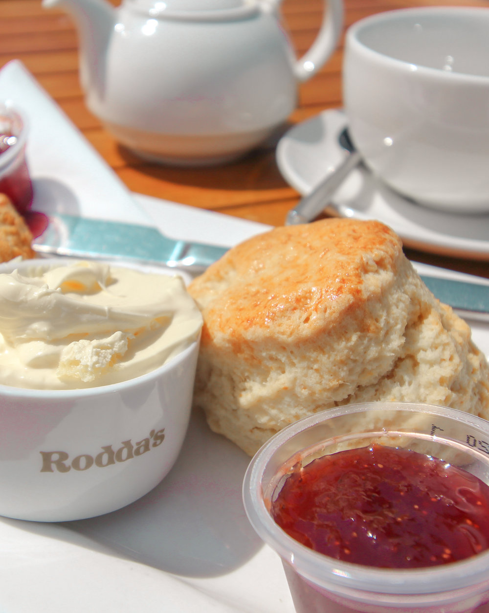 Cornish Cream Tea - Clotted cream and jam on a scone!