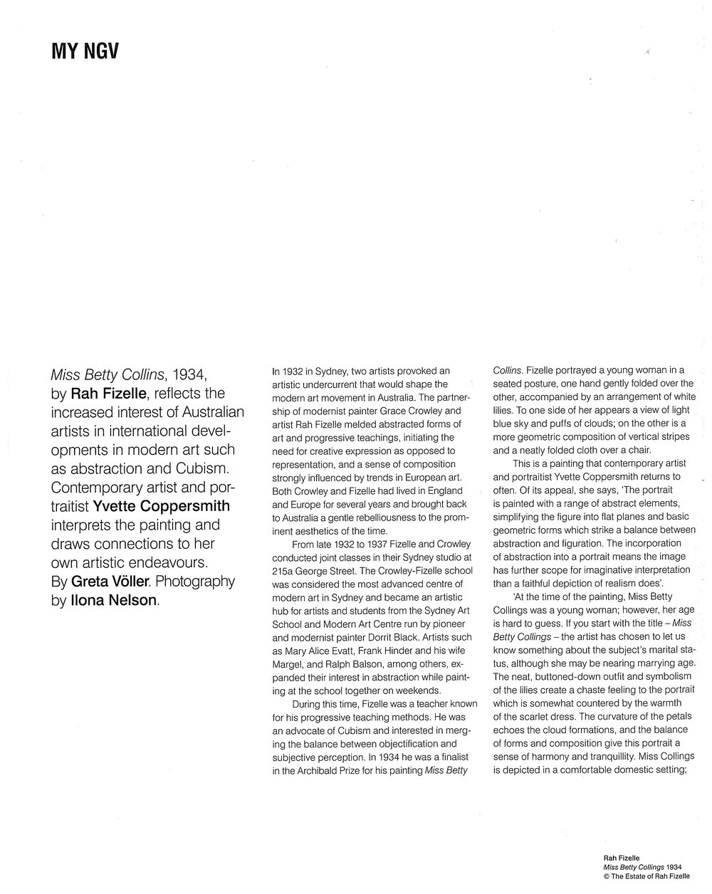 MY NGV National Gallery of Victoria, Magazine Greta Voller July/Aug Issue, p 78 - 81