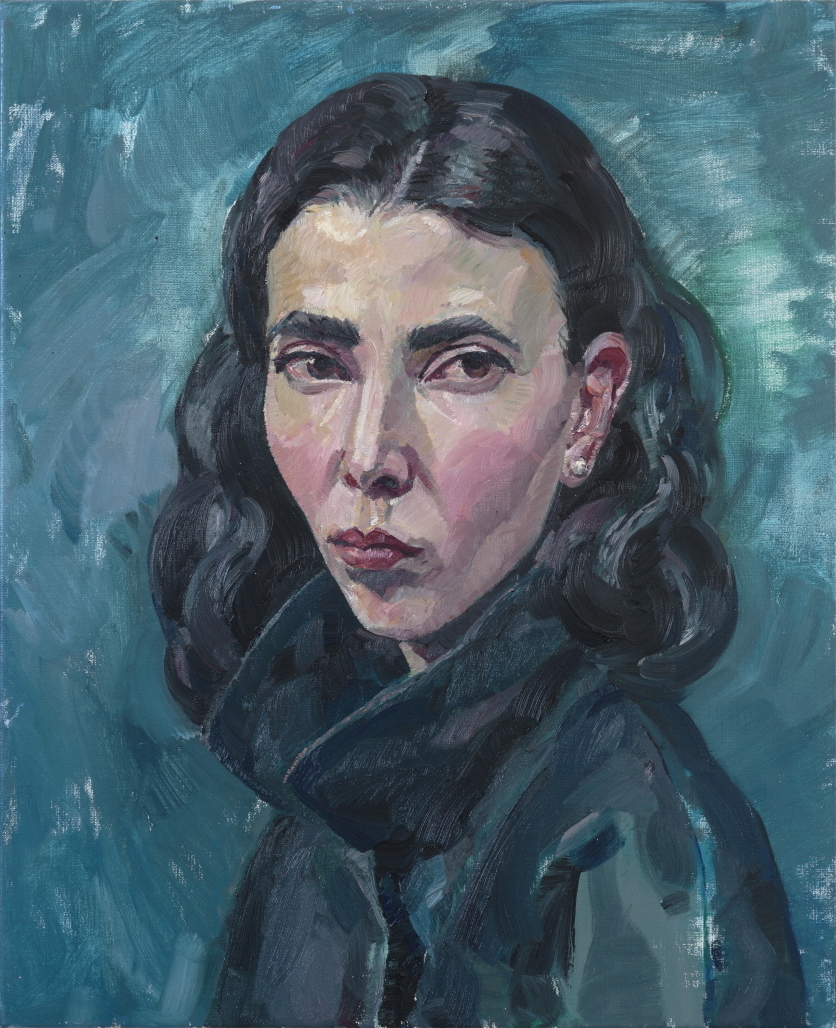 Self-portrait in Navy Coat , oil on linen, 56.5cm x 46cm, 2017