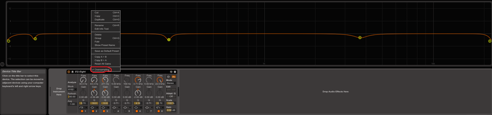 With Ableton's EQ8, your technical EQing could look like this. Don't forget to put it into the Oversampling mode by right-clicking the upper boarder of the plugin. There are EQs out there (even free plugins) with features like linear phase, steeper EQ curves, a piano to identify the frequency with a note (or vice versa), even dynamic cuts/boosts can be a feature or a fancy grafic interface. My personal choice for this step: Fabfilter Pro Q 2
