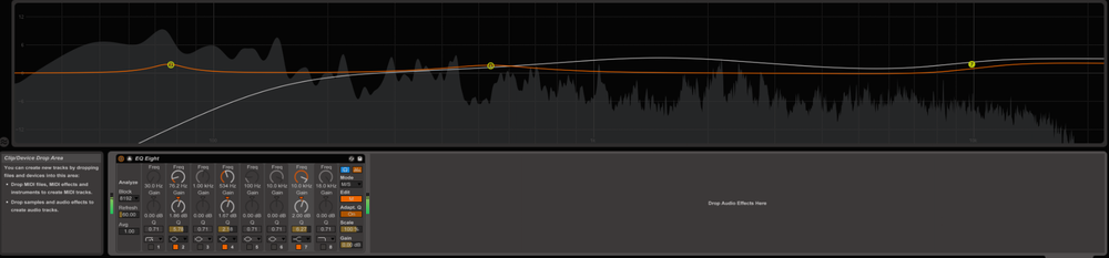 Don't forget to put your EQ in linear phase mode (EQ8 in Live you can at least put in the Oversampling mode). I do my musical EQing in a mid/side setup to be able to access both seperately. Once more, there will be EQs out there other than EQ8 which are better suited for mastering, even free ones. I work with Fabfilter Pro Q2.