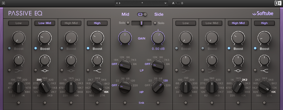 This one is not a free plugin, it is the Passive EQ by Native Istruments and is modelled after the famous Manley Massive Passive EQ. It is an emulation of a tube equalizer that can give coloration to your sound. Other usual suspects to fall into this category are tape emulations and saturators. The three big questions are do you need it, do you want it and do you know what you are doing ? When you are going for this kind of sound alteration, always compare A/B, always use your ears and try to detect the fine differences that your devices can create.