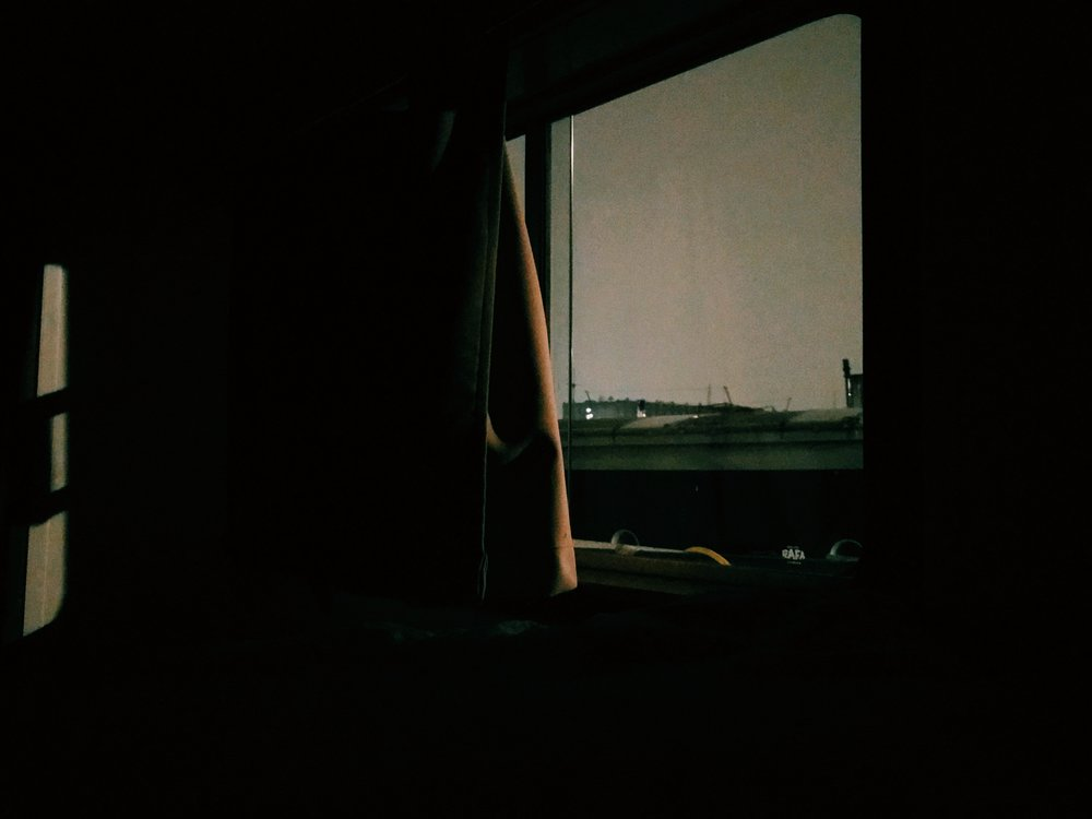 Unable to sleep, a view from an Amsterdam houseboat in the quiet hours of the night.