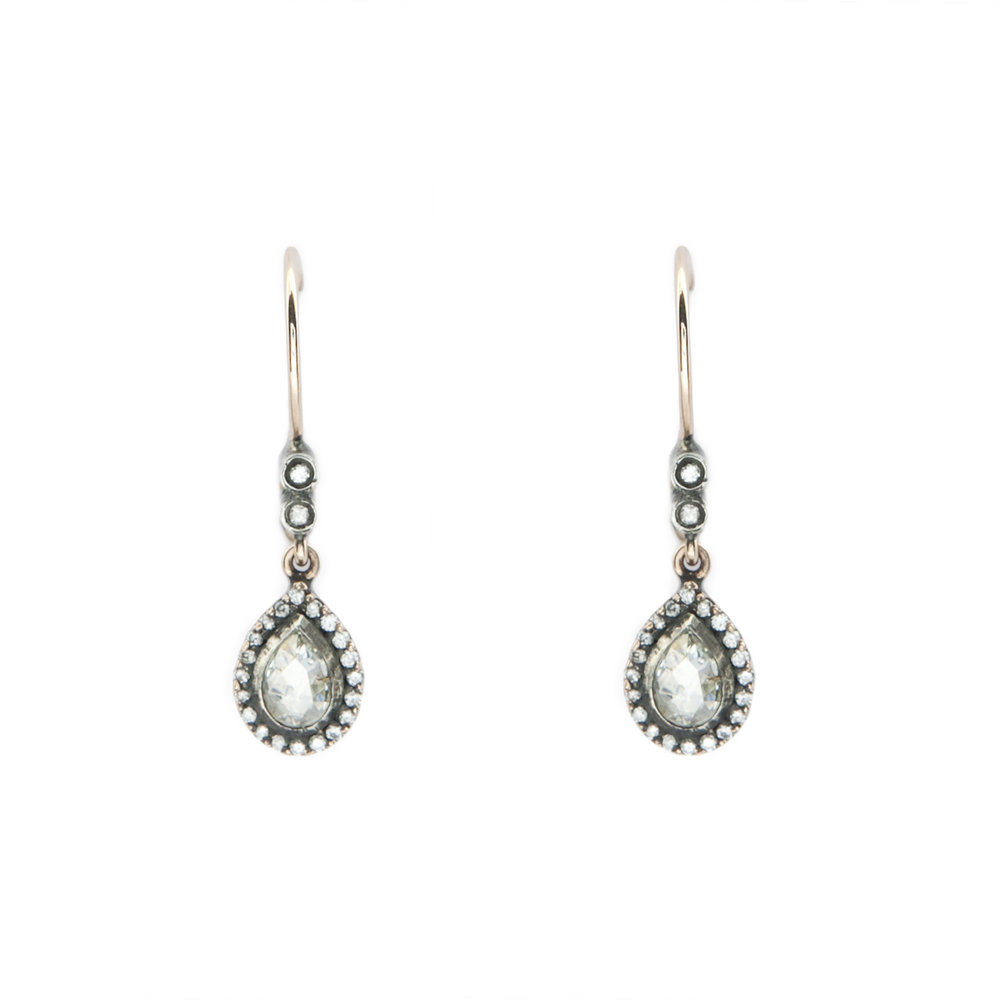 Vintage Pear Shape RC Diamonds Earrings