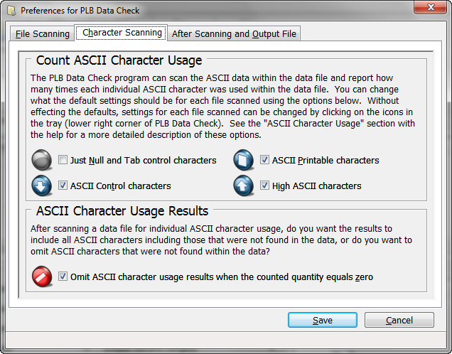 PLB Data Check Preferences - Character Scanning