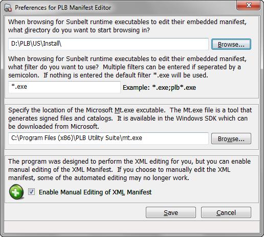 PLB Manifest Editor Preferences
