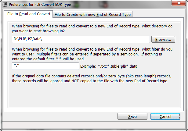 PLB Convert End of Record Preferences - File to Read