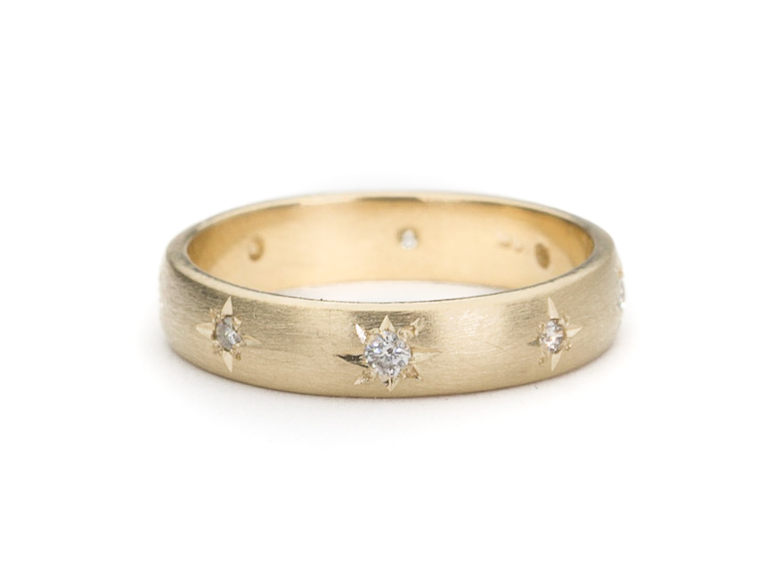 14K Yellow Gold Star Set Diamond Band