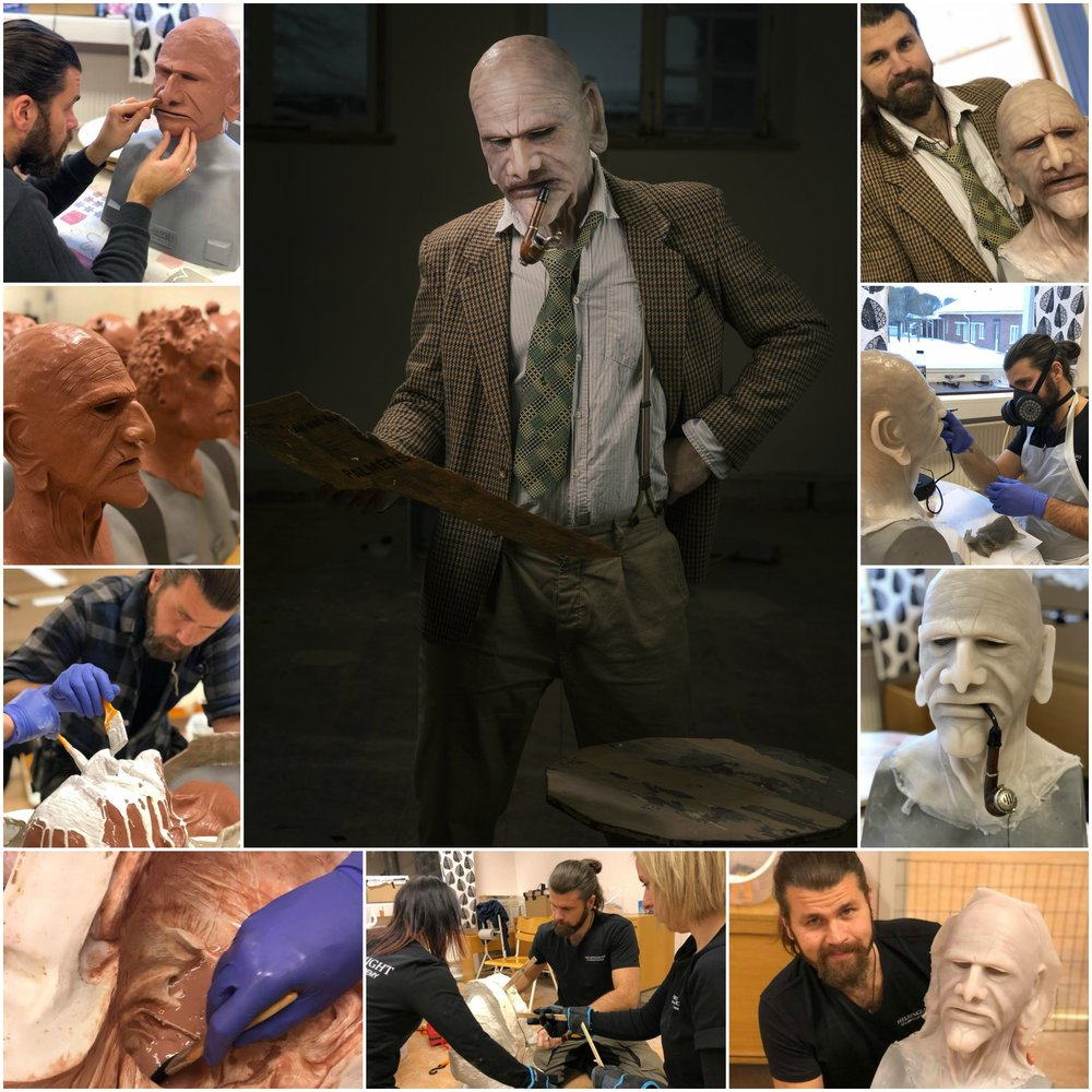 "This ""old man"" silicone mask was created by our student Markus Lööf on our last 10-day silicone mask making workshop. Markus works mainly as a carpenter and has never sculpted anything before. Very impressive work for a first time mask maker!"