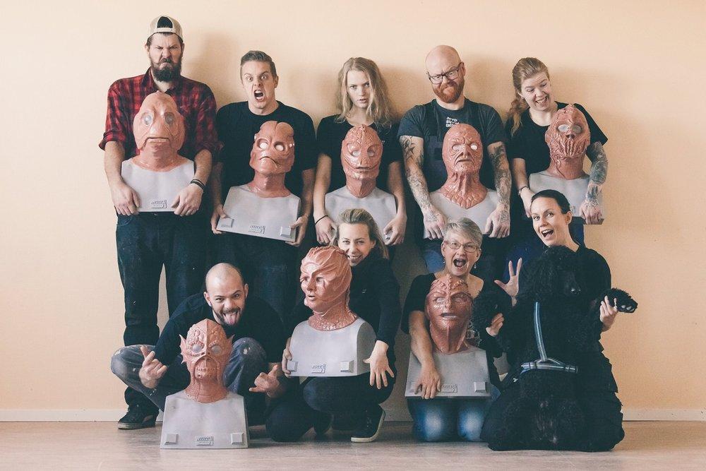Deltagare på 10-dagars kursen där man lär sig skapa masker i silikon hos Helsinglight FX i Hälsingland.