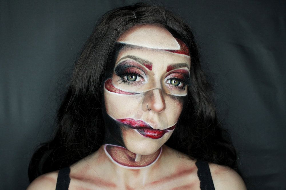 Illusion face paint makeup by FX makeup artist Metamorphosia FX