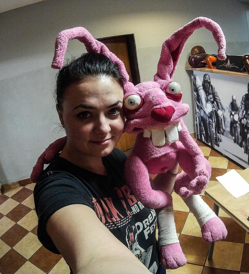 Amfira and one of her Nasty Bunnies!  facebook.com/nastybunnies