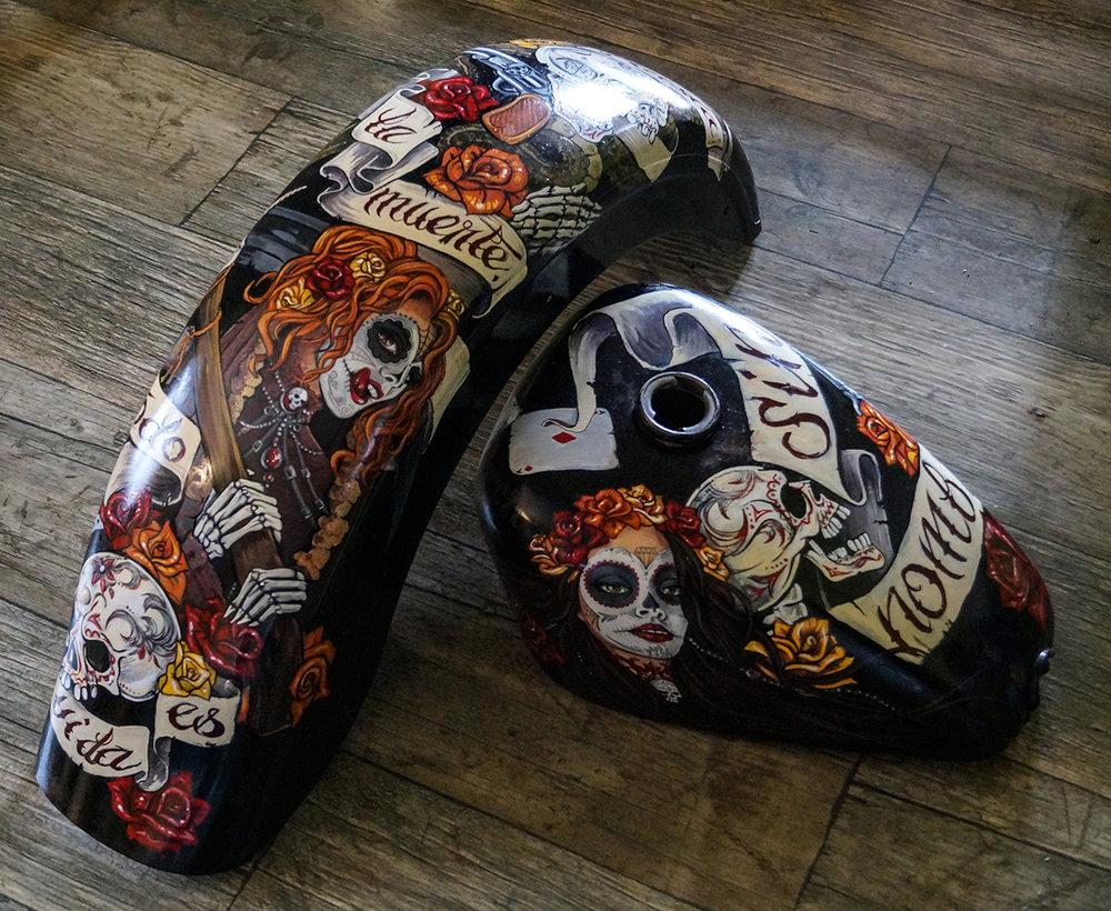 """Sin nombre"" Muerta themed custom Harley Davidson, art by Amfiria."