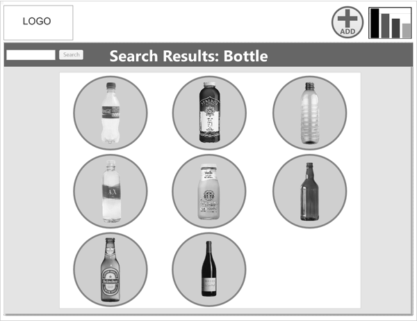 "Search Results:  When a user enters key words into the search bar and selects ""search,"" this page emerges with relevant search results. Each waste item is tagged with either a green circle, indicating that the waste item is recyclable, or a red circle around it, indicating that it is garbage."