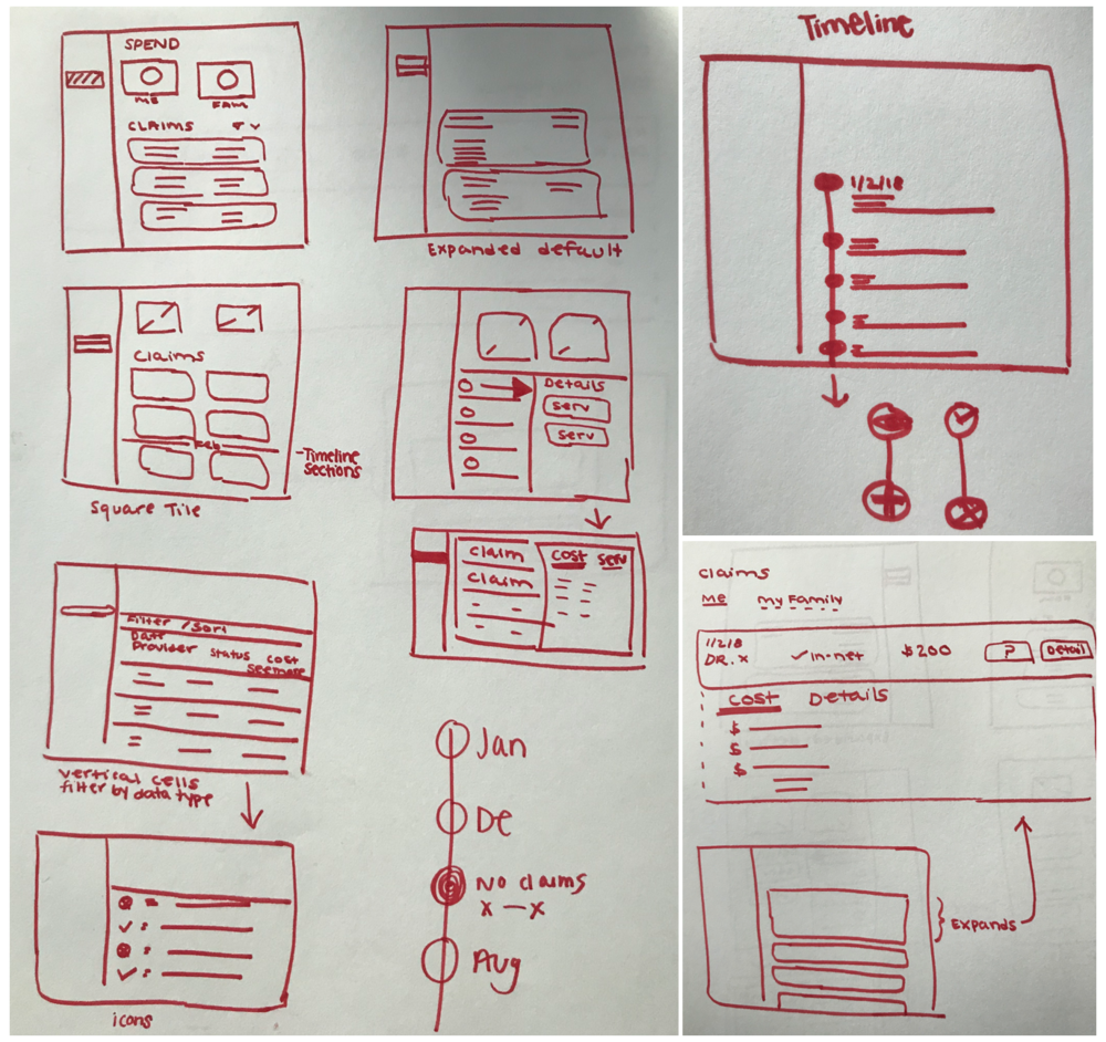 Here are some initial concepts I sketched. The lead web designer and I then critiqued our collective sketches prior to creating lo-fi wireframes.