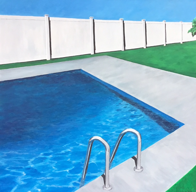 Saturday by the Pool, 36x36