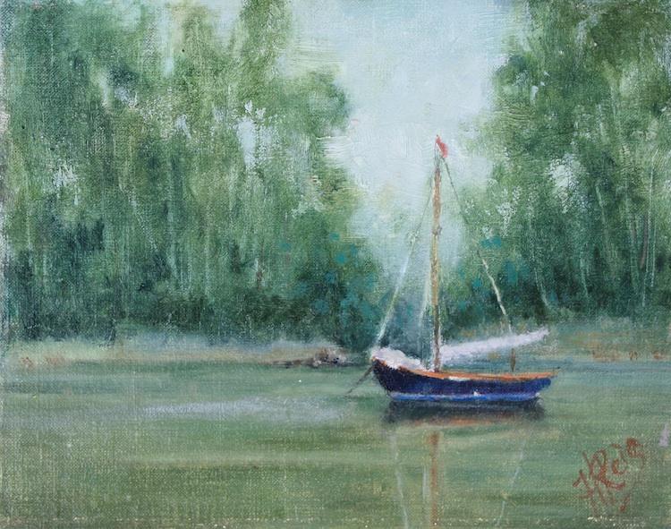 River Sailboat, 6x8