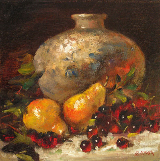 White, Blue & Cherries 12x12