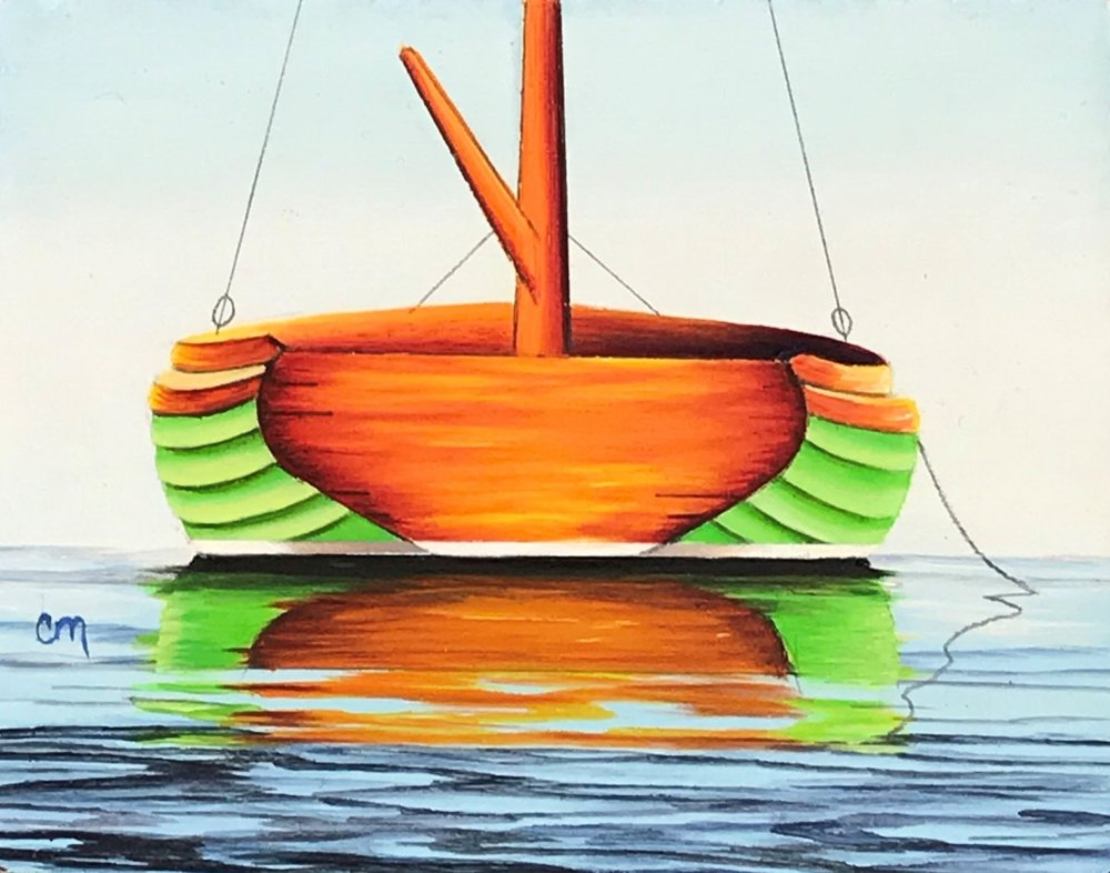 Lime Green Catboat, 4x5