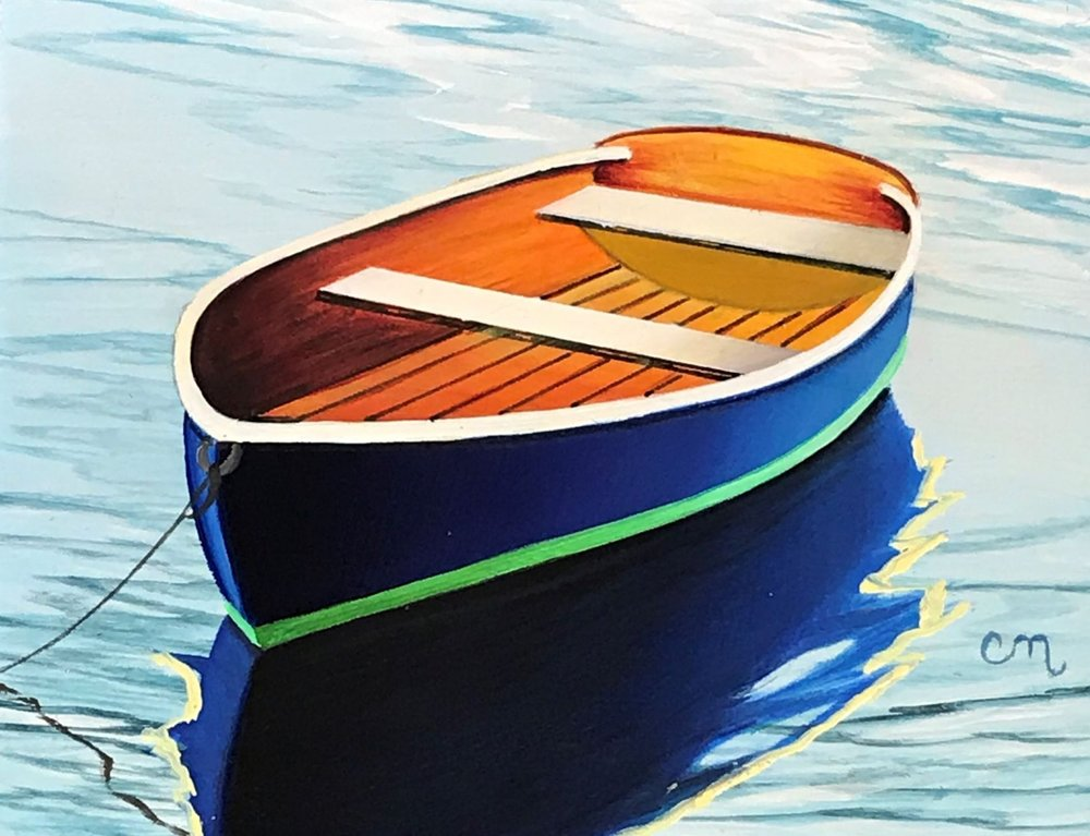 Navy Blue Rowboat, 4x5