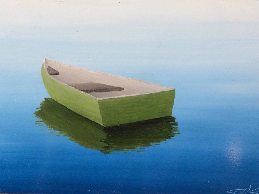Green Rowboat, 5x7