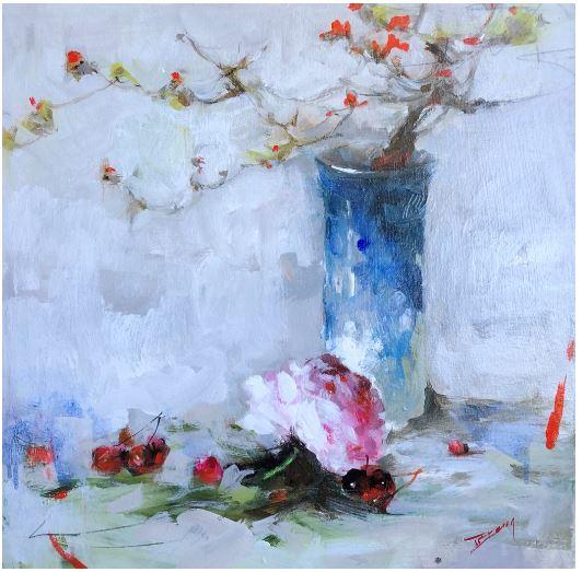 Shades of Spring I, 20x20