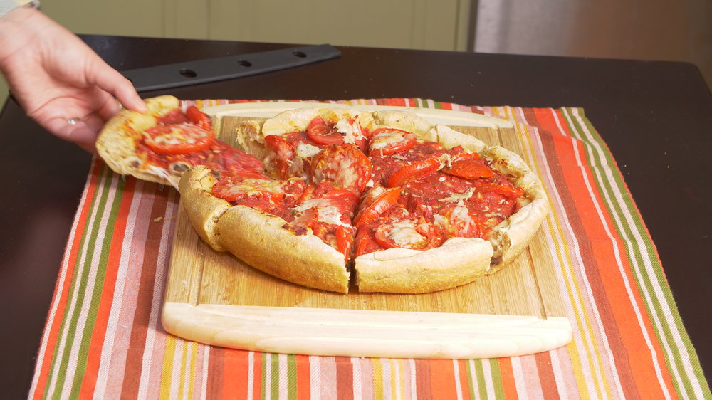 sourdough stuffed chicago style pizza