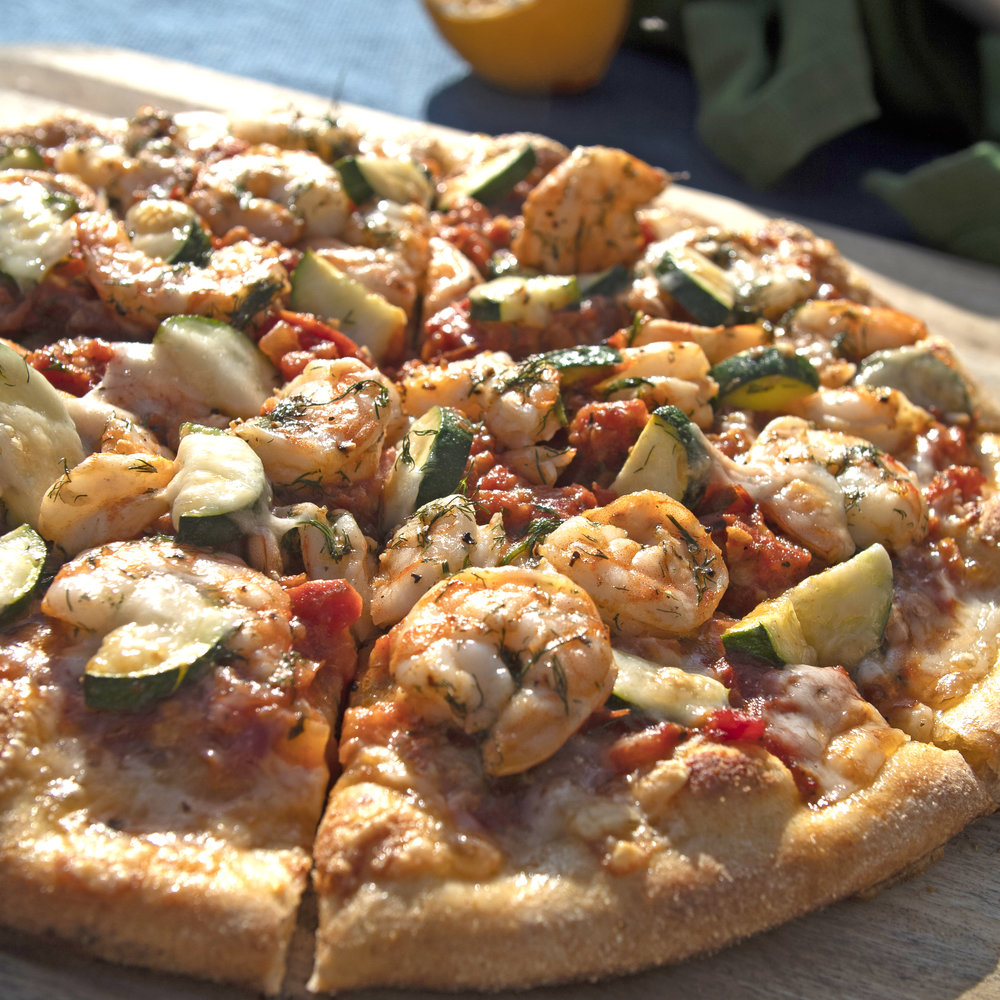 Shrimp Pizza Spicy Red Sauce