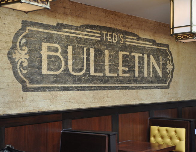 Wall graphics for Ted's Bulletin, a prohibition-era themed restaurant in Washington, D.C.