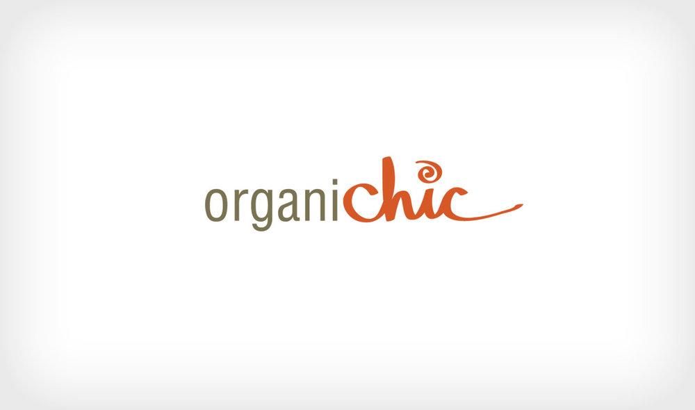 Logo concept for OrganiChic, an all-natural wellness blog for women.