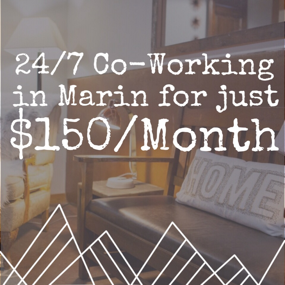 "The Everyday Indie Deal - You will not see a better deal for coworking in The Bay Area. Work in stunning Marin where your first three months are just $150/mo for 24/7 access! To secure your discount, choose ""SPECTACULAR Everyday Indie"" here.*For new members only with a twelve month commitment."