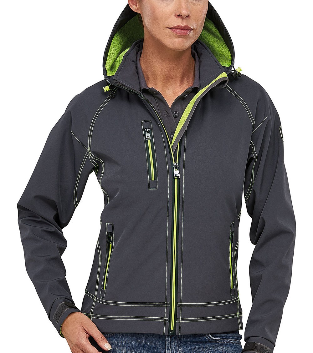 TWOTONE PROTECH8000/5000 TECH SOFT SHELL FEMALE MACGREY/MACGREEN FLUORESCENT MELANGE