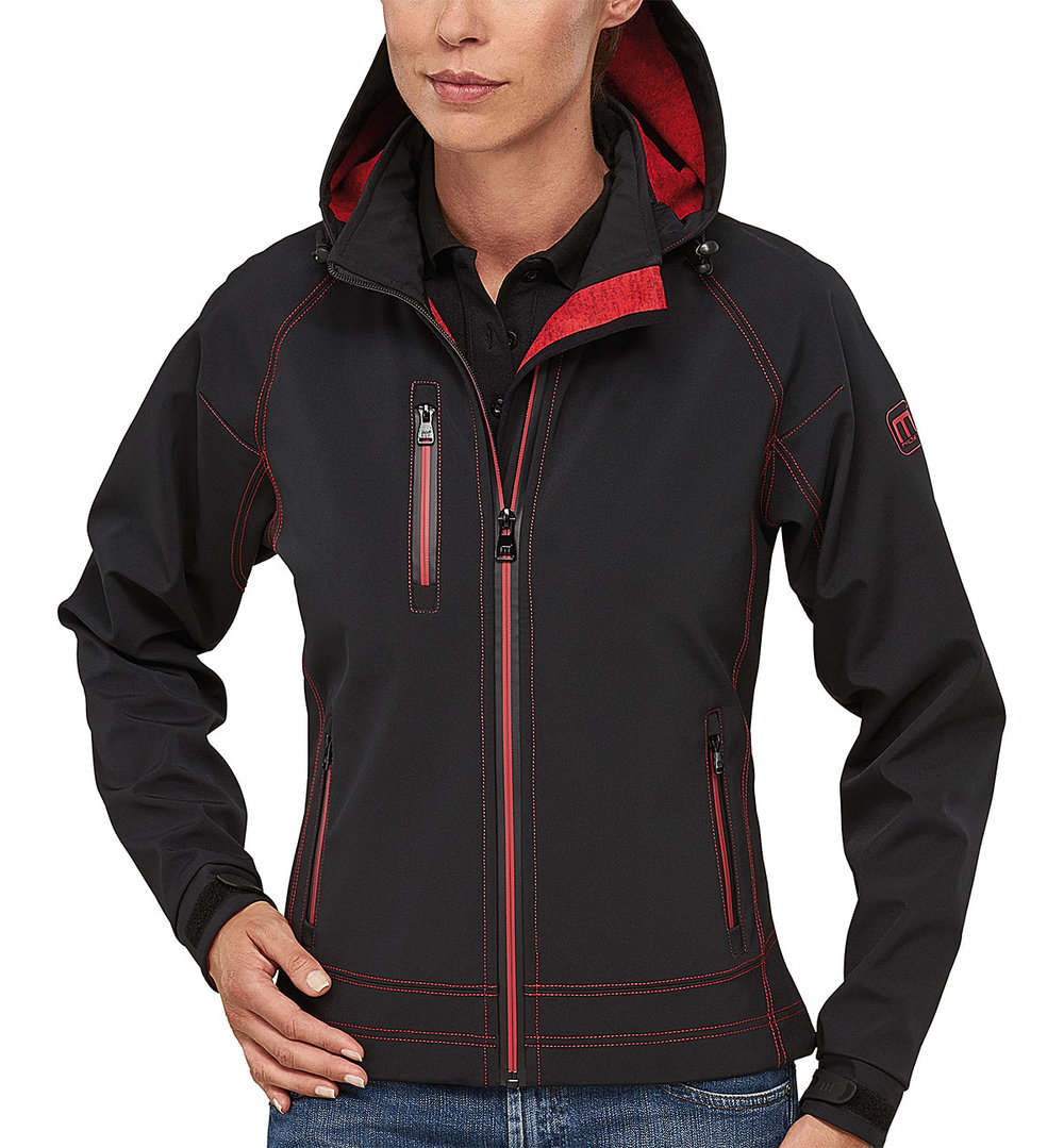 TWOTONE PROTECH8000/5000 TECH SOFT SHELL FEMALE MACBLACK/MACRED MELANGE