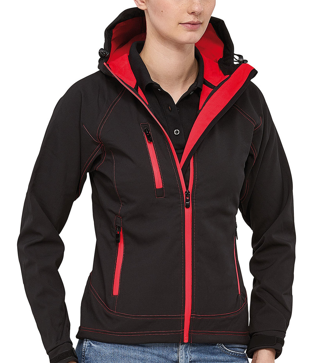 OUTLOOK PROTECH8000/5000 SOFT SHELL JACKET FEMALE MACBLACK/FLASHRED