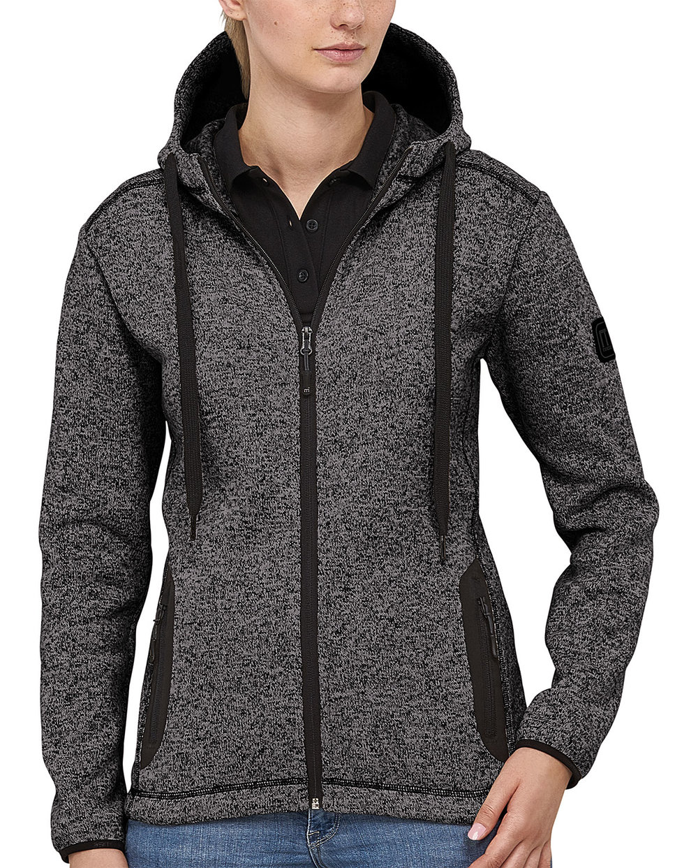 RIPTIDE LIGHT HOODED BREATHABLE-KNIT TOP FEMALE MACBLACK/MACGREY MELANGE