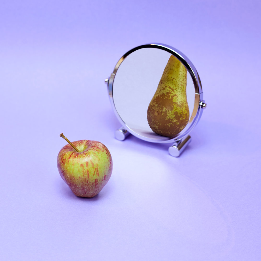 1. Distorted sense of self: the apple looks at the mirror, but sees a pear staring back. Alluding to the female form, (BPD is most common in young women) this shows how sufferers often struggle with the idea of who they are, how they appear and what they want in life.