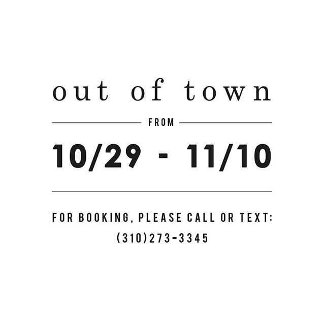 I will be out of town from 10/29-11/10. Please call to book services with me. #hiromiskincare #lapeaurose #organic #skincareroutine #skincareprofessional #salon #outoftown #salonrepublic #beauty