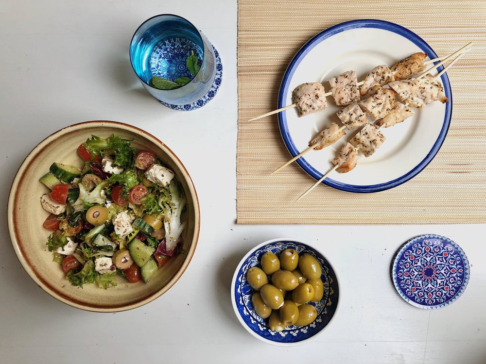 Recipe greek salad with lemon chicken skewers mind body paradise now ill admit im no chef so the stuff i do is just really easy i am lazy and tastes good i am biased and you might wonder why im bothering to forumfinder Image collections