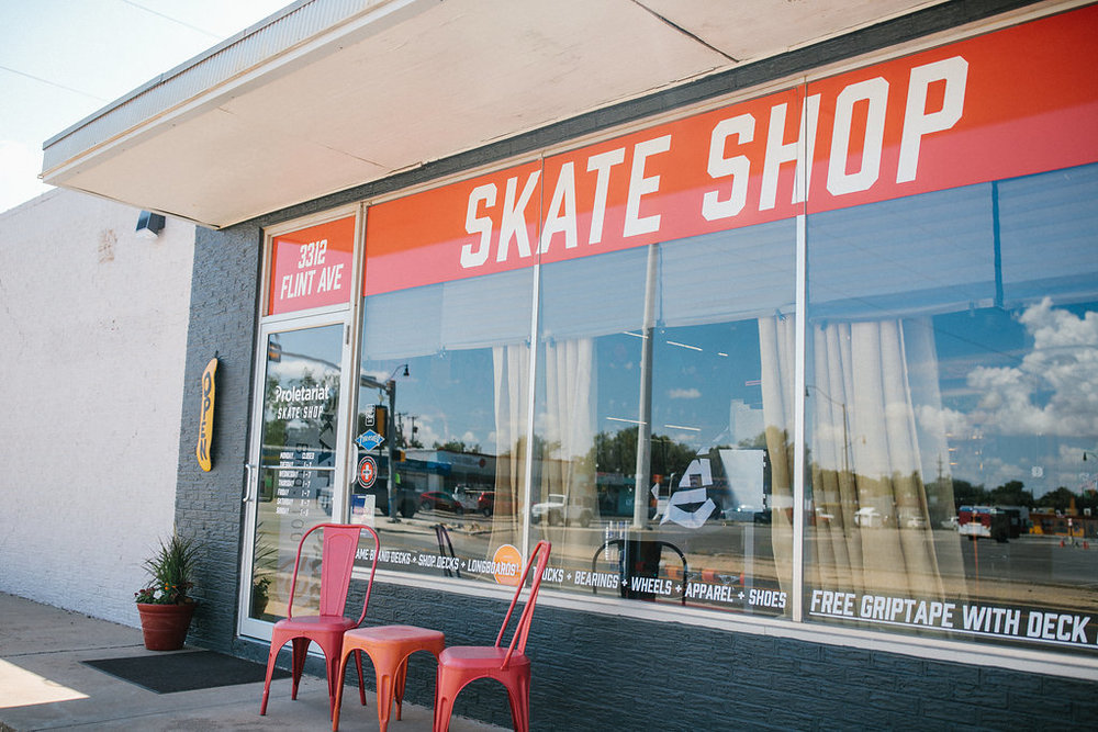 About Proletariat - Lubbock's only skater owned and operated skate shop! Offering affordable American made decks and completes as well as a full line of name brand trucks, wheels, bearings and skate gear of all sorts!