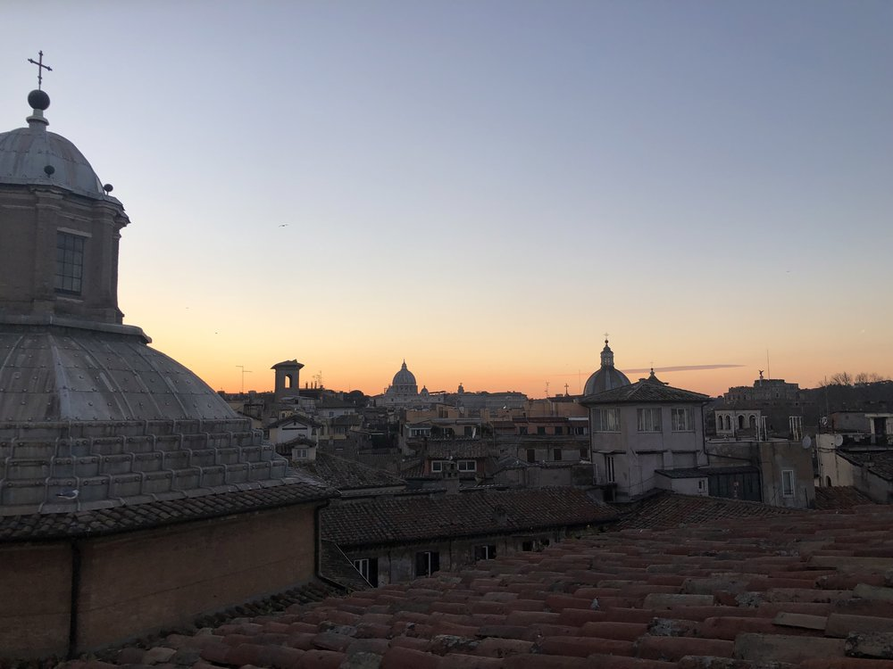 Rooftop of Hotel Raphael at sunset