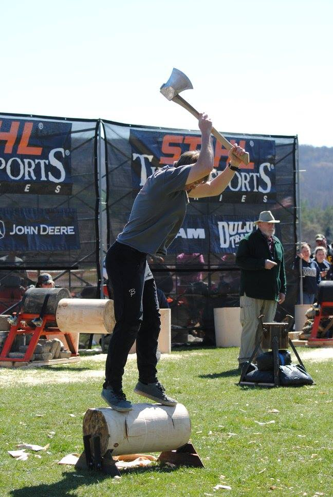 My Story - While an undergraduate student at the University of Vermont I was the president and a founding member of the Woodsmen club sports team. We competed in competitions all across the Northeast. During the competition season I spent hours and hours practicing my axe work. By the end of my senior year, I competed in the Stihl Timbersports Eastern qualifier and won the hard hit underhand chop event at the 2016 Spring Meet in Alfred NY.My love of wood chopping and fascination with the sport brought me to become interested in grinding my own race axes. A race axe needs to be able to endure an intense amount of stress while maintaining a razor sharp thin edge. In order for it to be able to do that, the axe needs to have a very specific geometry. With the equipment that I have for bladesmithing and knifemaking I am able to grind a precise bevel to within a degree of tolerance.