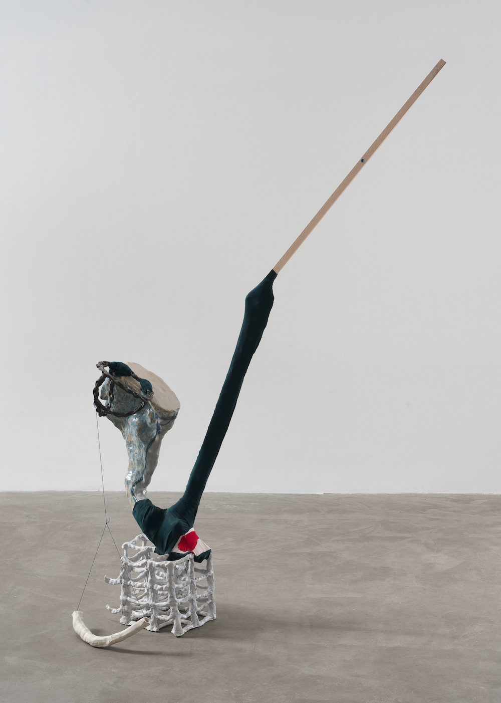 Flight , 2013 porcelain, glaze, Magic Sculpt, silk, wood, Flashe 60 x 48 x 22 inches