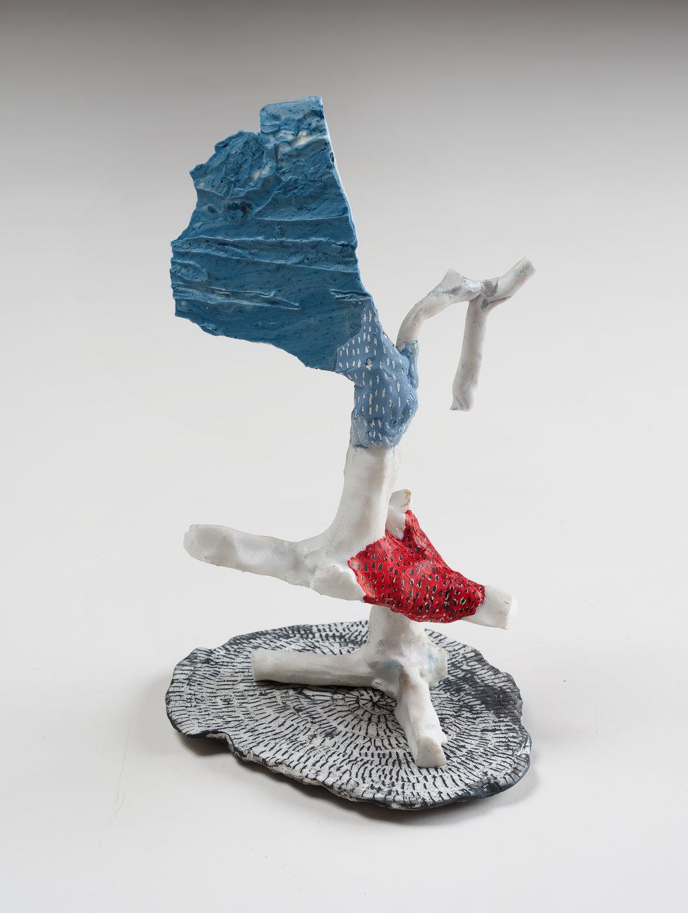 Salt Tree,  2013 porcelain, glaze, Magic Sculpt, ink 10 x 6.5 x 5 inches