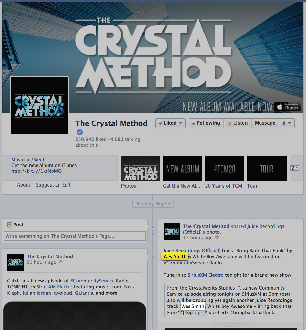 2014-03-11_FacebookTheCrystalMethod, Juice Recordings, The Juice Squad, Wes Smith, White Boy Awesome, Breaks, Breakbeat, Funk Bass, #BringBackThatFunk, #858FunkBass, #HotMessGoesBoom