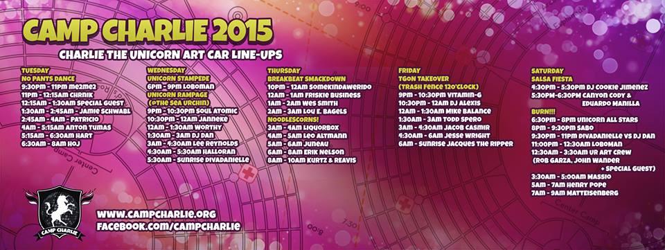 Charlie 2015 line up