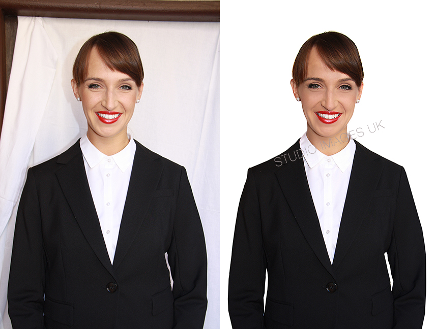 - Emirates or Qatar cabin crew photo requirements - Send us the image on the left, and we will then add the white background for you (right).