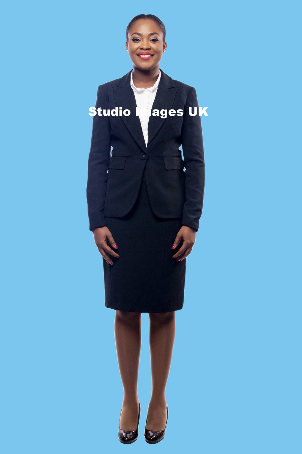- Send us one full length and one half length image of yourself and we will add the blue backdrop for you.